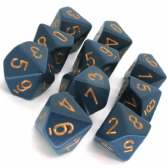 Blue & Gold Opaque D10 Ten Sided Dice Set